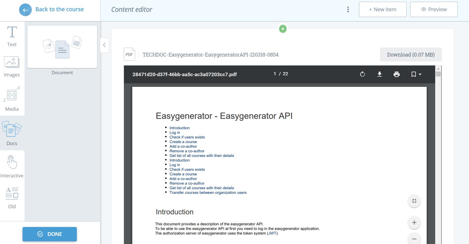 documents in Easygenerator
