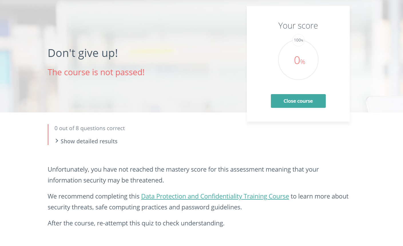 Course failed