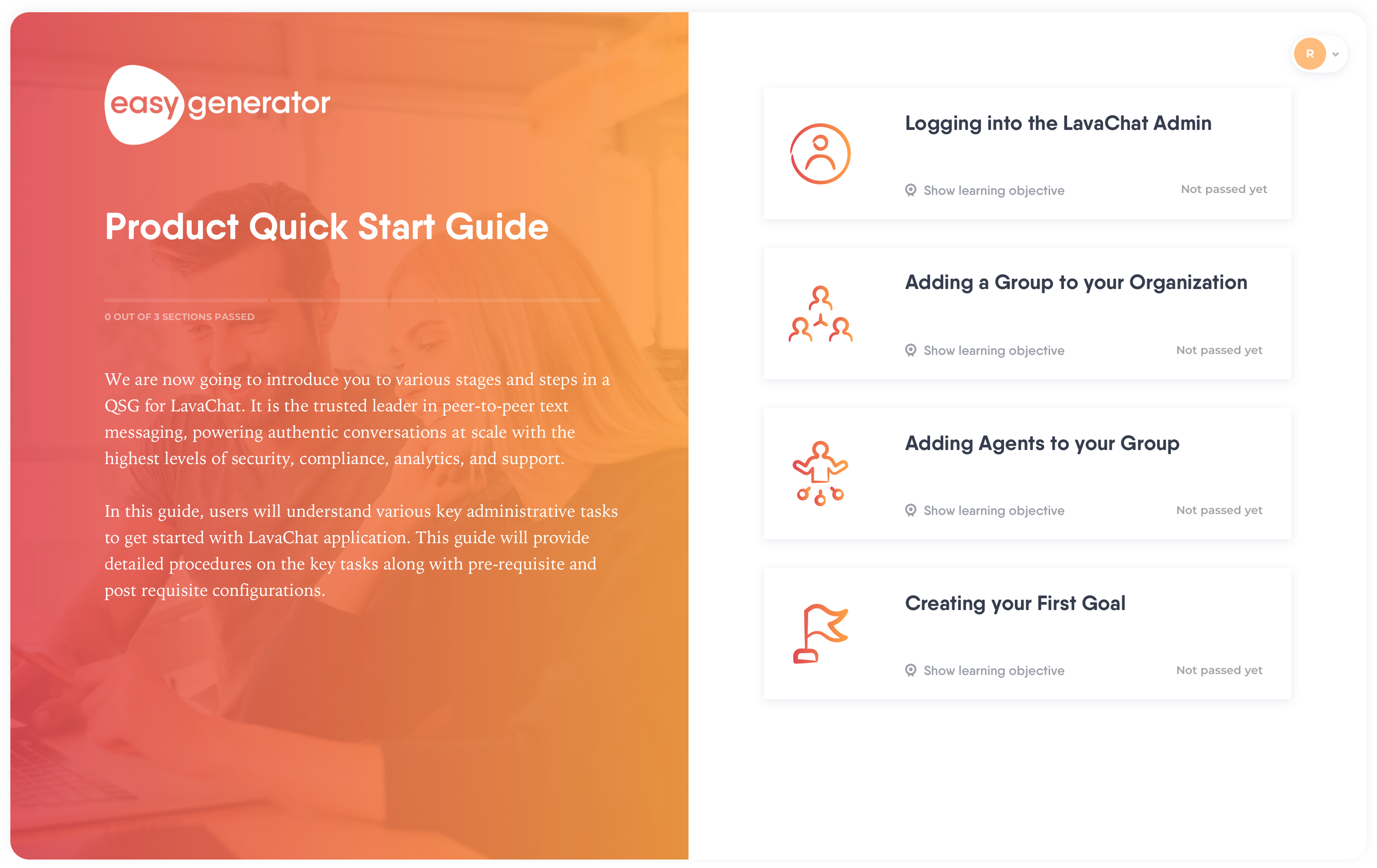 Product Quickstart Guide template Easygenerator