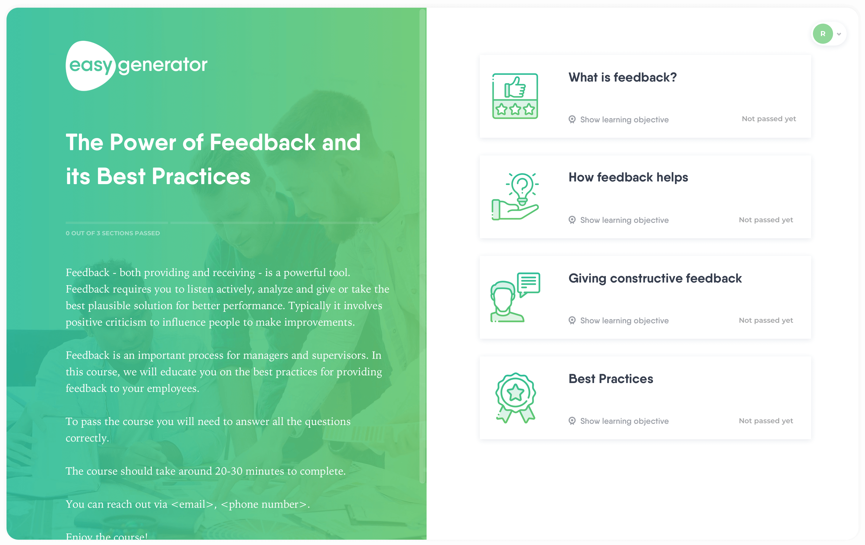 Training template for giving constructive feedback