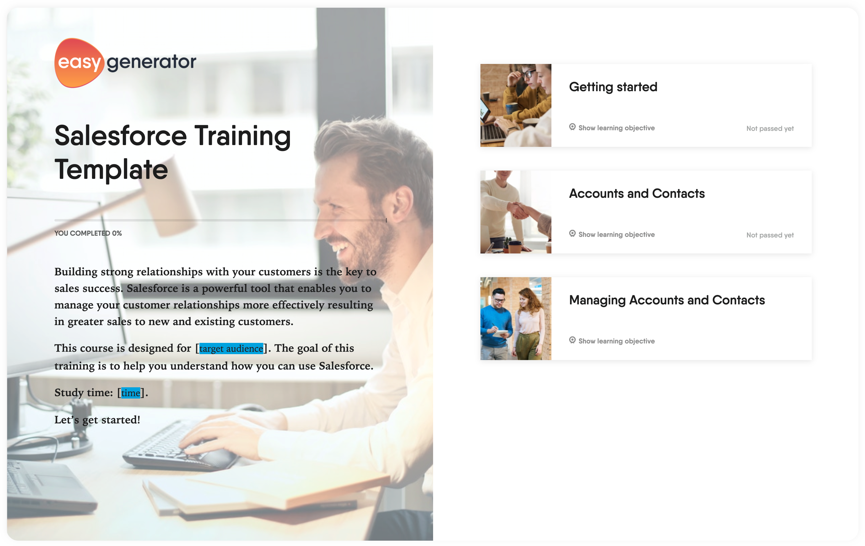 Salesforce training template Easygenerator